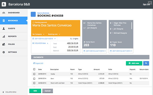 Booking detail page