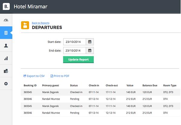 Departures report
