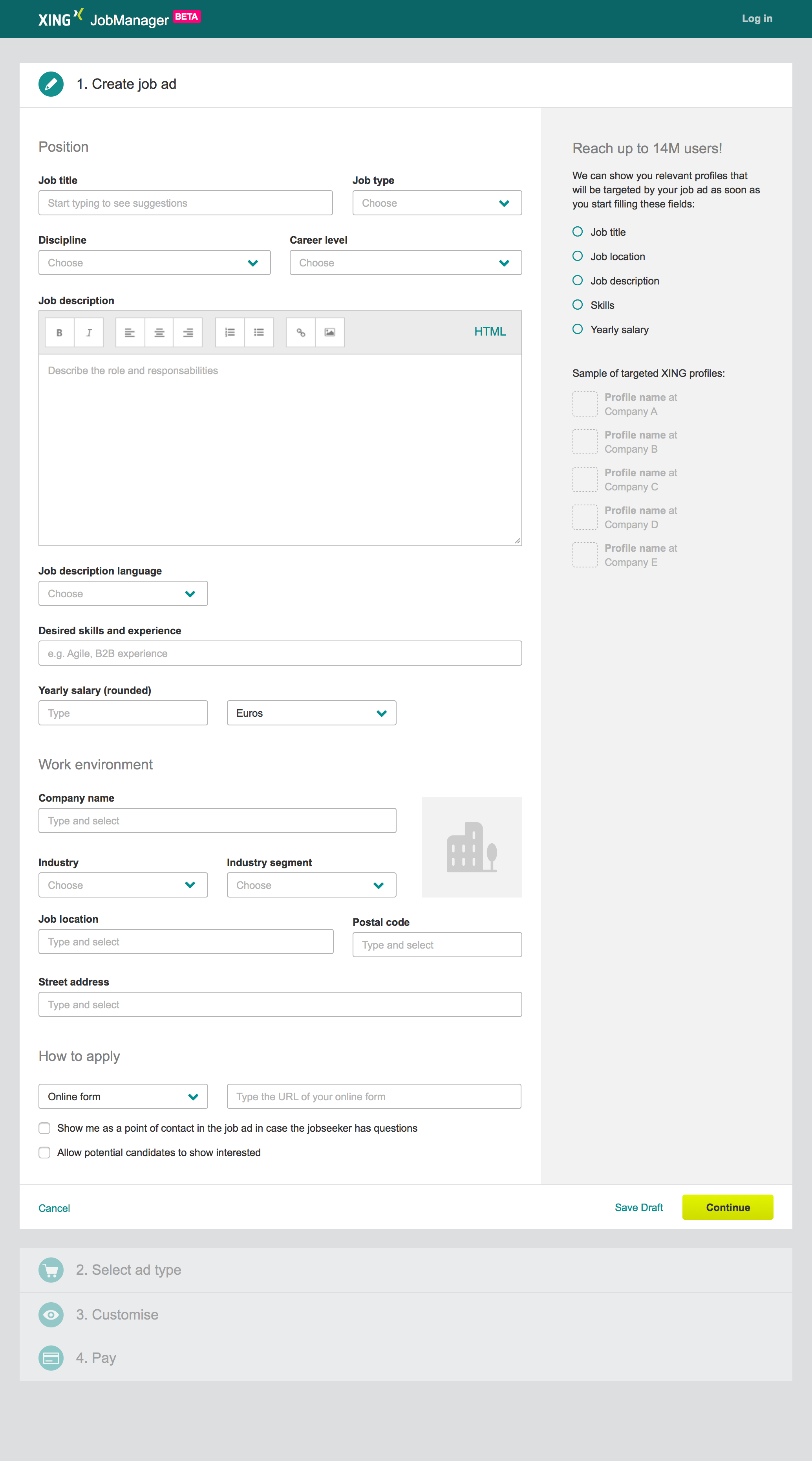 Job ad creation form mockup